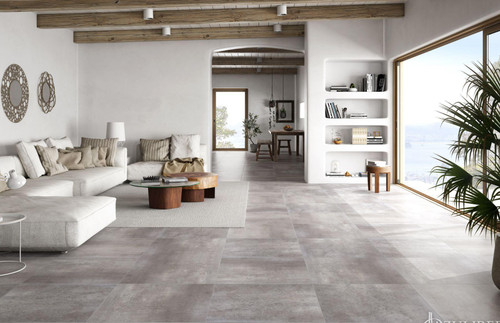 Tones grey, cream, anthracite, premium thick wall and floor porcelain tiles with anti-slip properties.