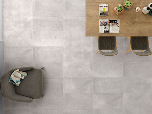 Grey non-slip porcelain wall and floor tile suitable for bathroom, living area, and kitchen.