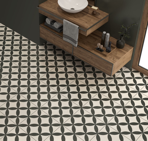 Patterned geometric porcelain floor and wall tiles for use in bathroom, kitchens, and living spaces.