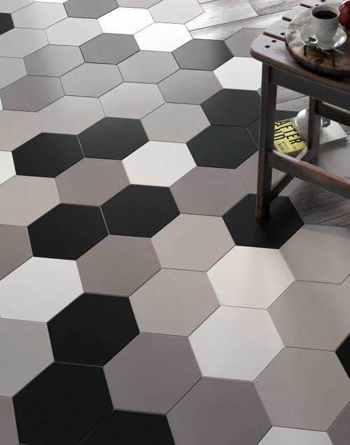 Hexagonal patterned wall and floor porcelain tiles for kitchens, bathroom, and living spaces.