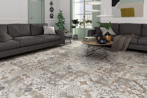 Premium Spanish porcelain wall and floor tiles, patterned vintage chic look.