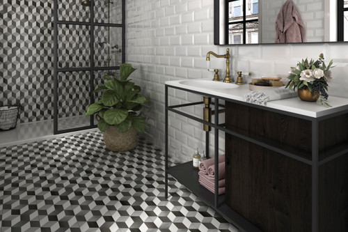 Patterned porcelain floor and wall tiles for bathrooms,  hallways and kitchens.