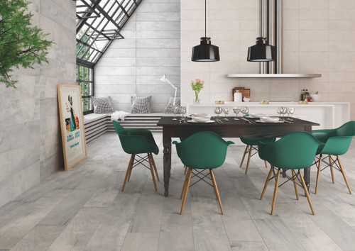 wood look porcelain wall and floor tiles. Vintage look suitable for living areas, bathroom, and kitchen.