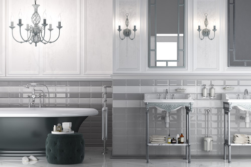 Light grey metro or brick style wall tiles, porcelain, and suitable for bathroom, kitchen, and living areas.