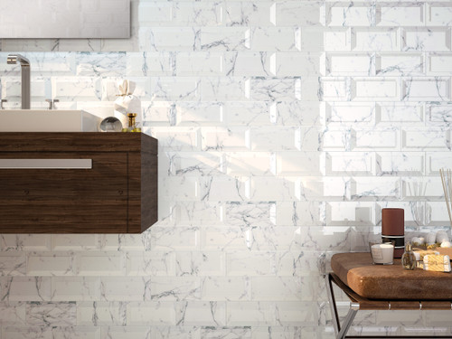 Metro marble wall tile, suitable for bathroom, kitchen, living areas and even hallways.