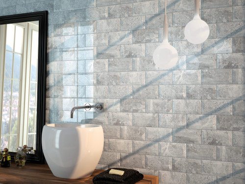 Marble look Metro or subway brick style wall tiles for bathroom, kitchen, and living area including hallway.