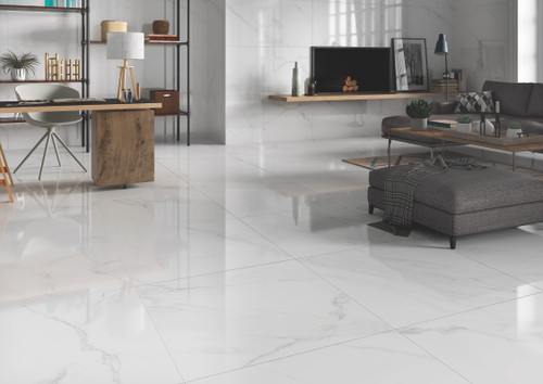 Tuscany grey patterned glossy porcealain floor tiles 600x600mm