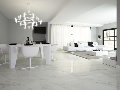 Dior white marble range matt porcelain tiles for your lounge area, hallways, kitchen and bathoom,