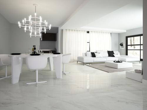Dior white marble range matt porcelain tiles for your lounge area, hallways, kitchen and bathoom,