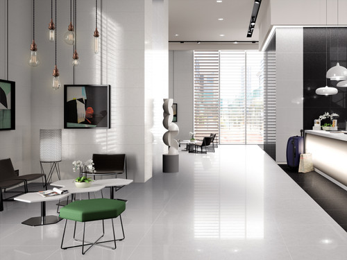 Pristine high-end Ritz porcelain wall and floor tiles, rectified finish, for living areas, bathroom and kitchen, and in both black and white colours.