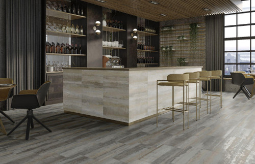 Metallique industrial look porcelain wall and floor tile that is suited for commercial office and cafe's, as well as in the home!