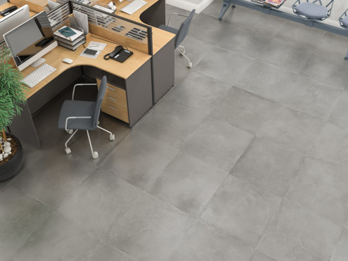 Premium Elements range - Grey matt concrete look porcelain wall and floor tiles.