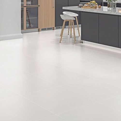 Light grey porcelain floor tile. Can be used as a bathroom floor tile, a kitchen floor tile, or even a floor tile for the living space. This porcelain tile can also be used on the walls. Light in colour, yet will create a beautiful overall look.