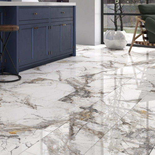 Fantasia Marble Gloss Porcelain Wall and Floor Tile 600x600mm