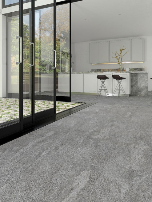 Rock and stone effect porcelain tile, grey tile, bathroom tile, floor tile, kitchen tile, wall tile, living room tile, outdoor tile.