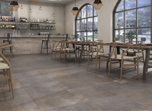 Porcelain floor and wall tile. Chic and rustic design, suitable as living room tile, bathroom tile, floor tile, wall tile, kitchen tile, office tiles.