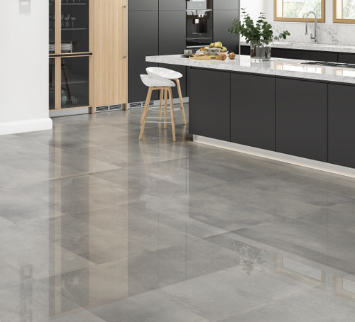 Grey polished porcelain floor tiles for the bathroom kitchen hallway and lounge.