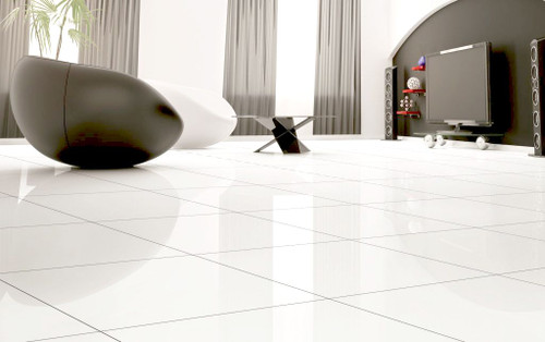 White rectified glossy floor tiles.