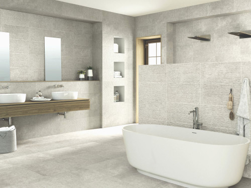 Buy light grey porcelain stone effect rectified tiles today for your bathroom or kitchen floors and walls