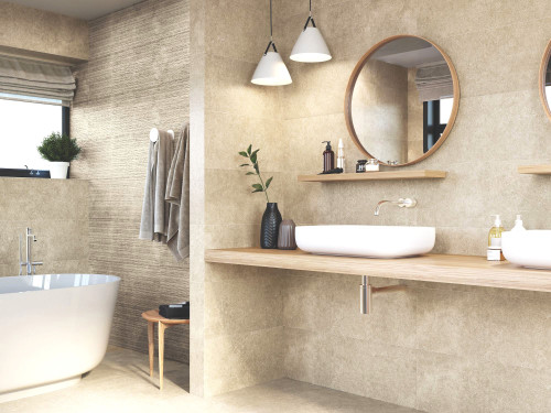 Buy cream stone effect porcelain wall tile for the bathroom. This is a feature wall tile.