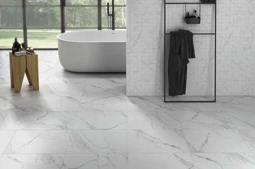 Matt finish white marble effect porcelain floor and wall tile with rectified edges.