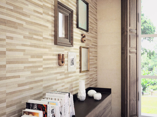 Beige split face effect wall tiles, ceramic and water proof wall tiles.