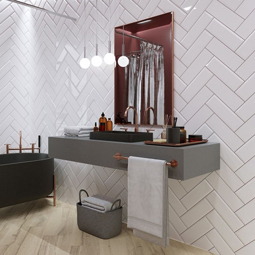 Premium tiles made from ceramic, a glossy finish, metro tiles in gloss white