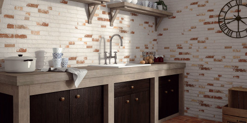 Bristol white and red brick effect porcelain wall tiles for the indoor and outdoor use. Kitchen and bathroom use as well as hallway and lounge.