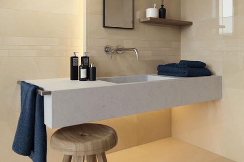 Beige subtle patterned gloss porcelain floor and wall tiles