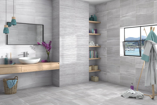 Grey ceramic floor and wall tiles for the bathroom