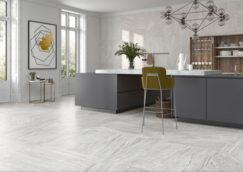 Grey stone effect large porcelain floor tiles in grey.