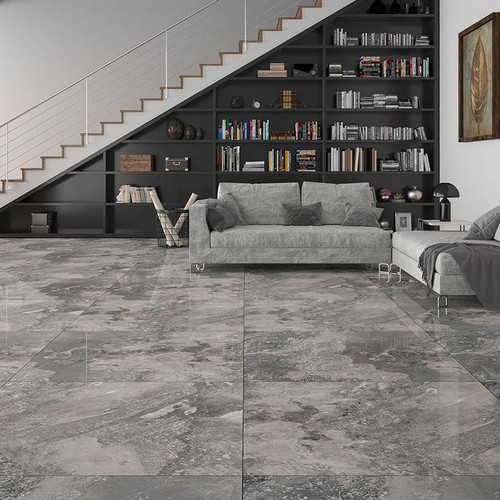 grey stone effect porcelain floor tiles in a large format
