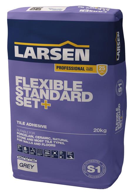 Larsen Standard set flexible plus grey floor and wall tile adhesive s1 grade