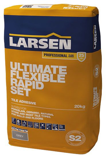 Buy Larsen Rapid Set Ultimate Flexible Grey Floor & Wall Tile Adhesive S2 Grade