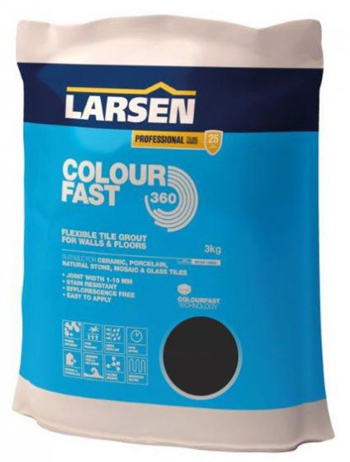 Colour Fast 360 Flexible Wall & Floor Grout Black 3kg