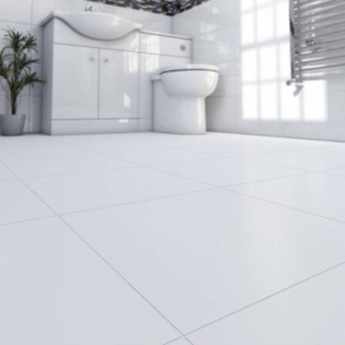 Rectified white matt premium porcelain floor tiles for kitchen and bathroom.