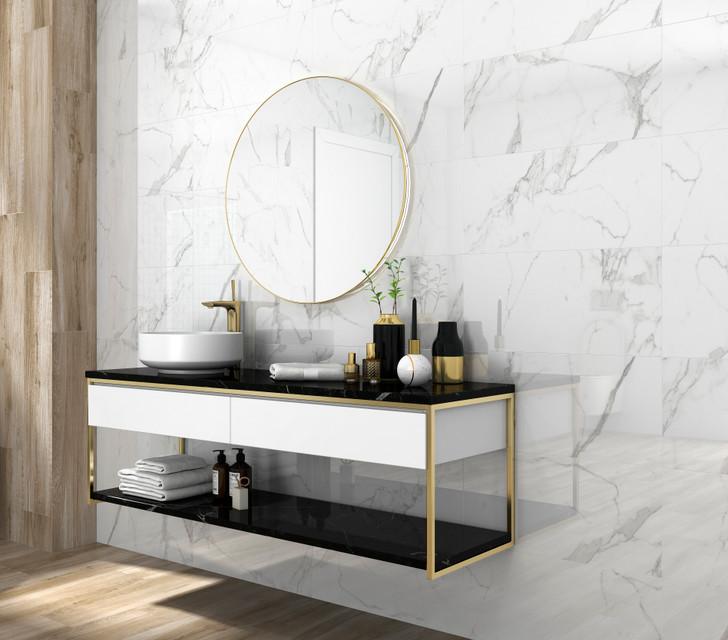 Tuscany white matt porcelain wall and floor tiles 600x300mm