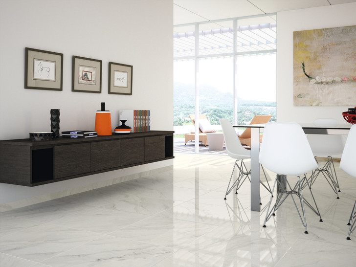 Dior white marble range glossy and polished porcelain wall and floor tiles for your living space, bathroom, and kitchen area.
