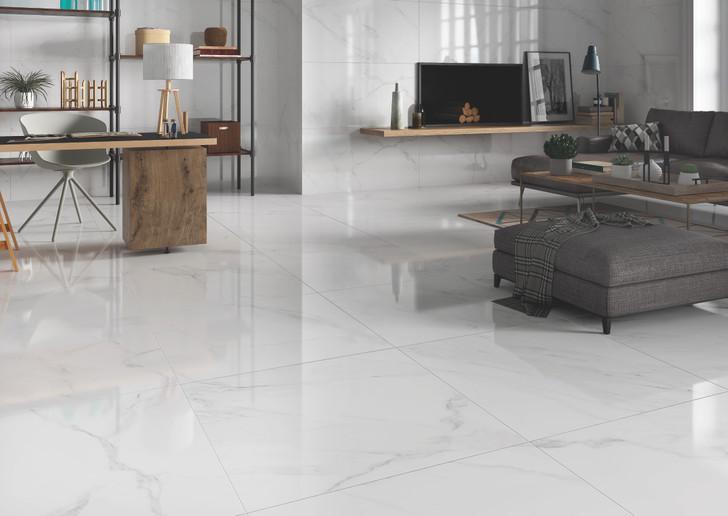Tuscany grey patterned glossy porcealain floor tiles 600x600mm
