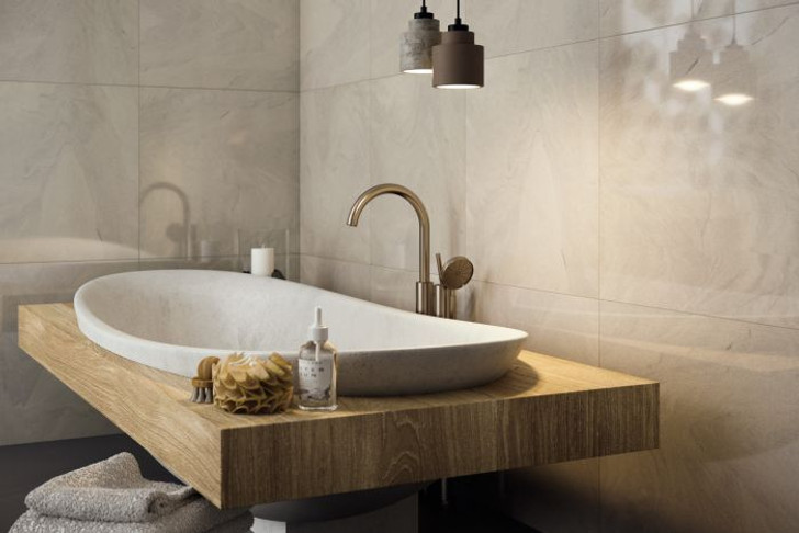 Grey porcelain floor and wall tiles, polished and a matt finish, compatible with underfloor heating.