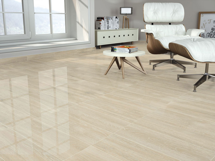 Cream glossy wood effect floor tile. Suitable as a bathroom tile, a kitchen tile, floor tile, and in some cases as a wall tile too.