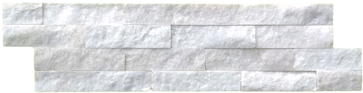 White Marble Split face mosaic feature wall tile. Crystal effect in a creamy white colour.