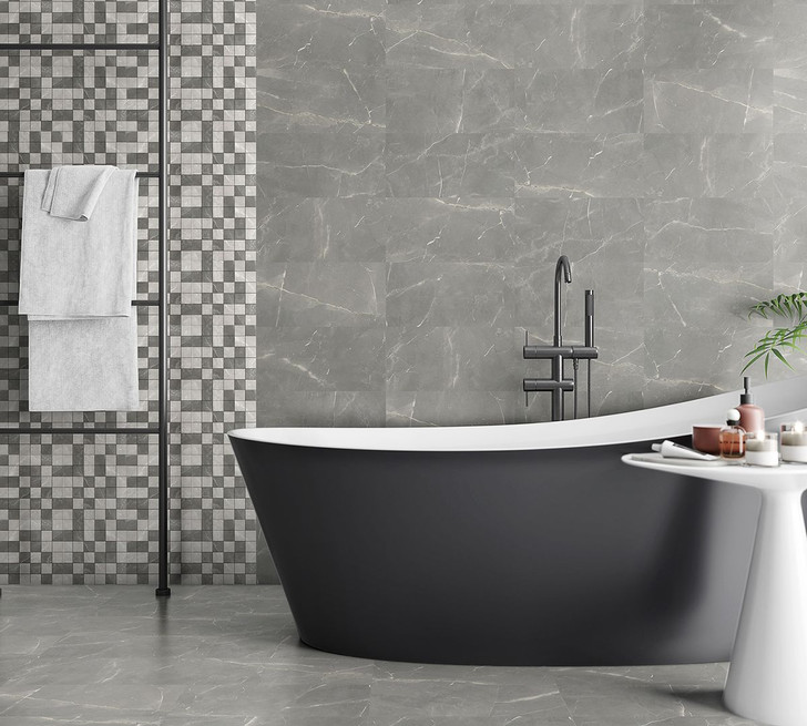 Grey porcelain wall and floor tile, marble effect, looks amazing in the lounge or the bathroom