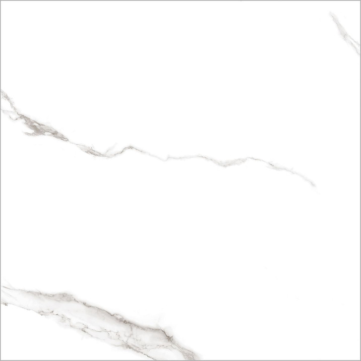 White marble look polished porcelain large format floor tiles