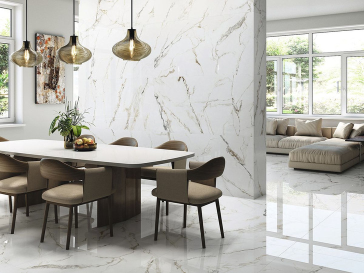 Calacatta Gold marble effect polished porcelain floor and wall tiles in large format. Spanish made premium tiles.