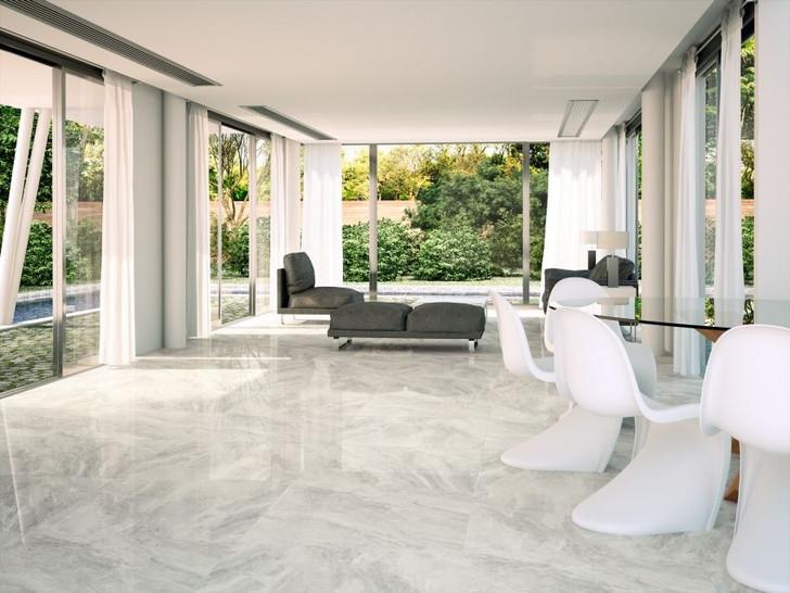 Perla or light grey ceramic floor tiles, marble effect, bathroom and kitchen use.