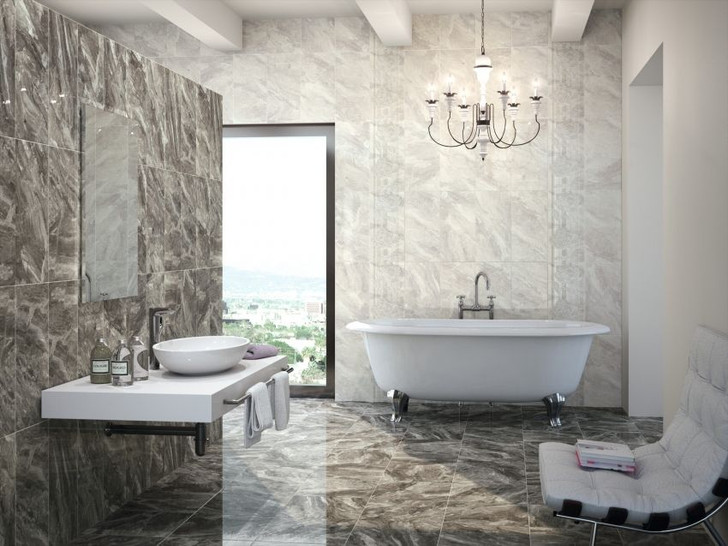 Grey marble effect ceramic floor tile for use as bathroom tiles and kitchen tiles