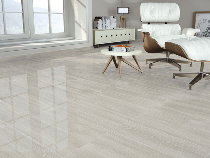 Light grey gloss wood effect ceramic floor and wall tiles at a low price and a fast delivery.