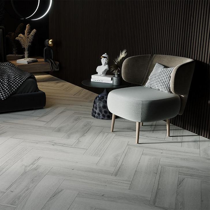 Light grey wood effect porcelain wall and floor tile