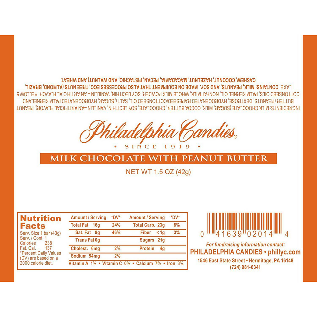 30.5% Cocoa Milk Chocolate with Peanut Butter Bar, 1.5 Ounce